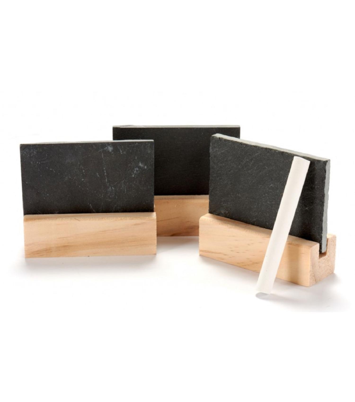 Set de 3 ardoises de table avec support en bois + craie