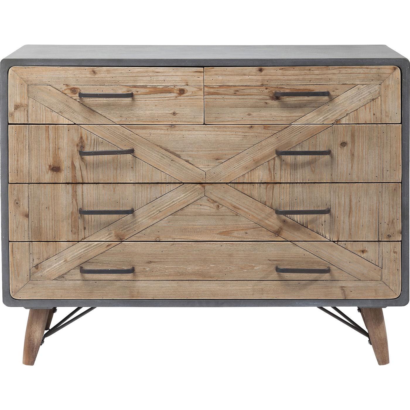 Commode 5 tiroirs en bois imitation béton gris