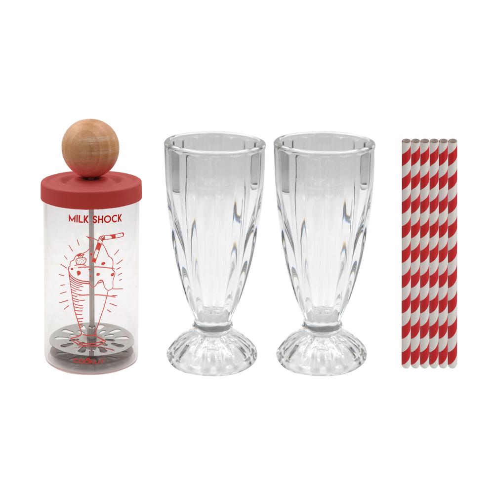 Shaker à milkshake et 2 verres et pailles