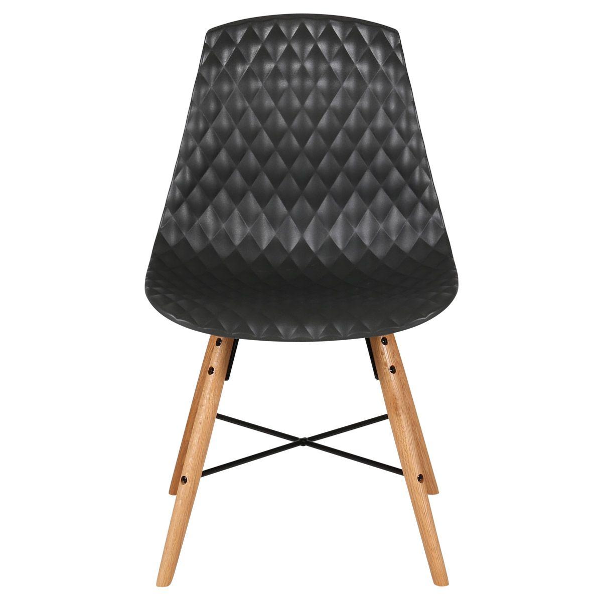 Chaise à coque effet matelassé  noir