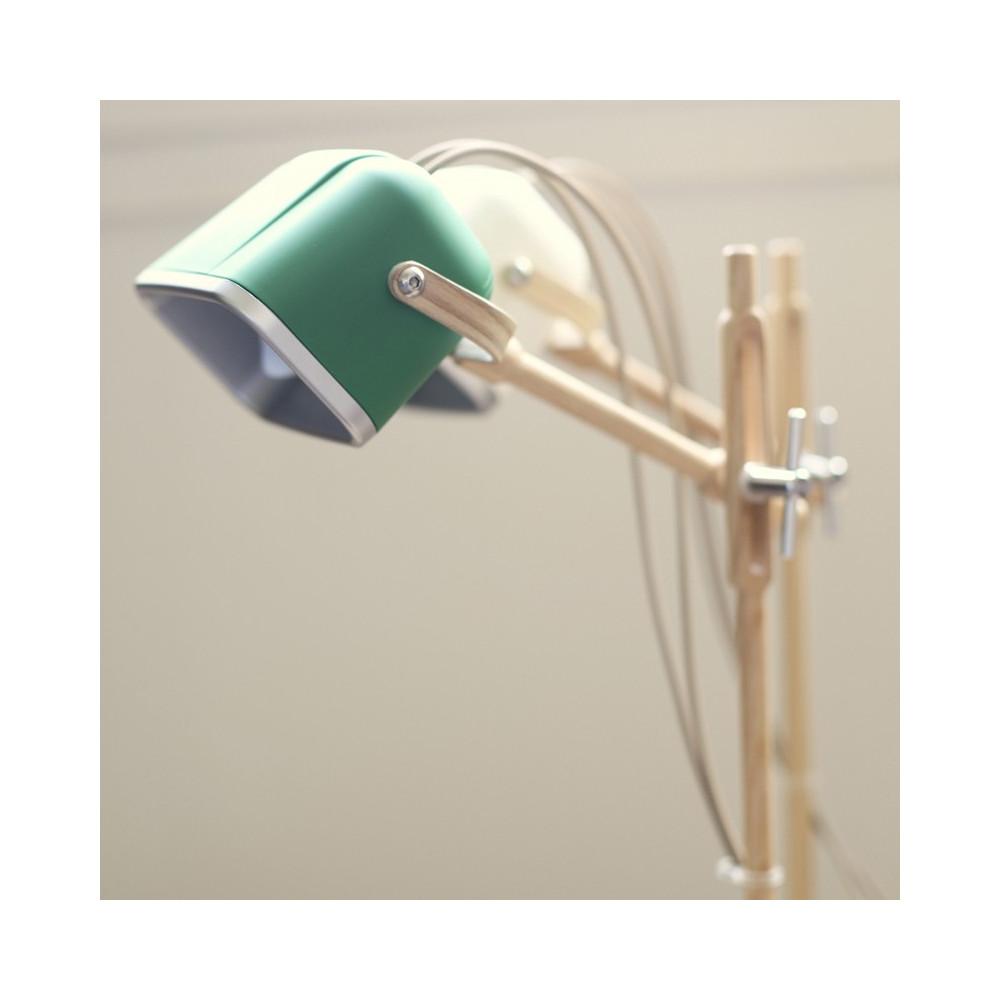 Lampe à poser verte et bois H60cm