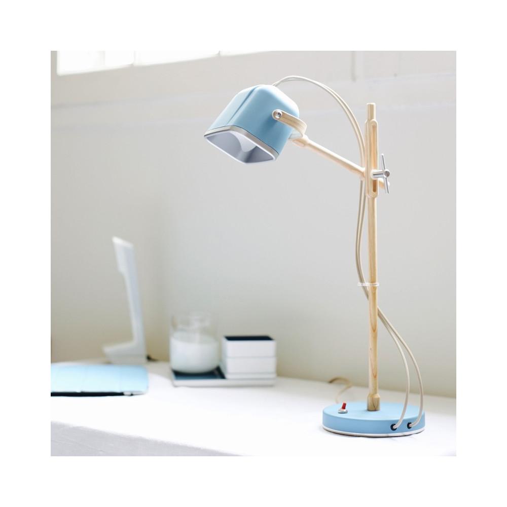 Lampe à poser bleue et bois H60cm