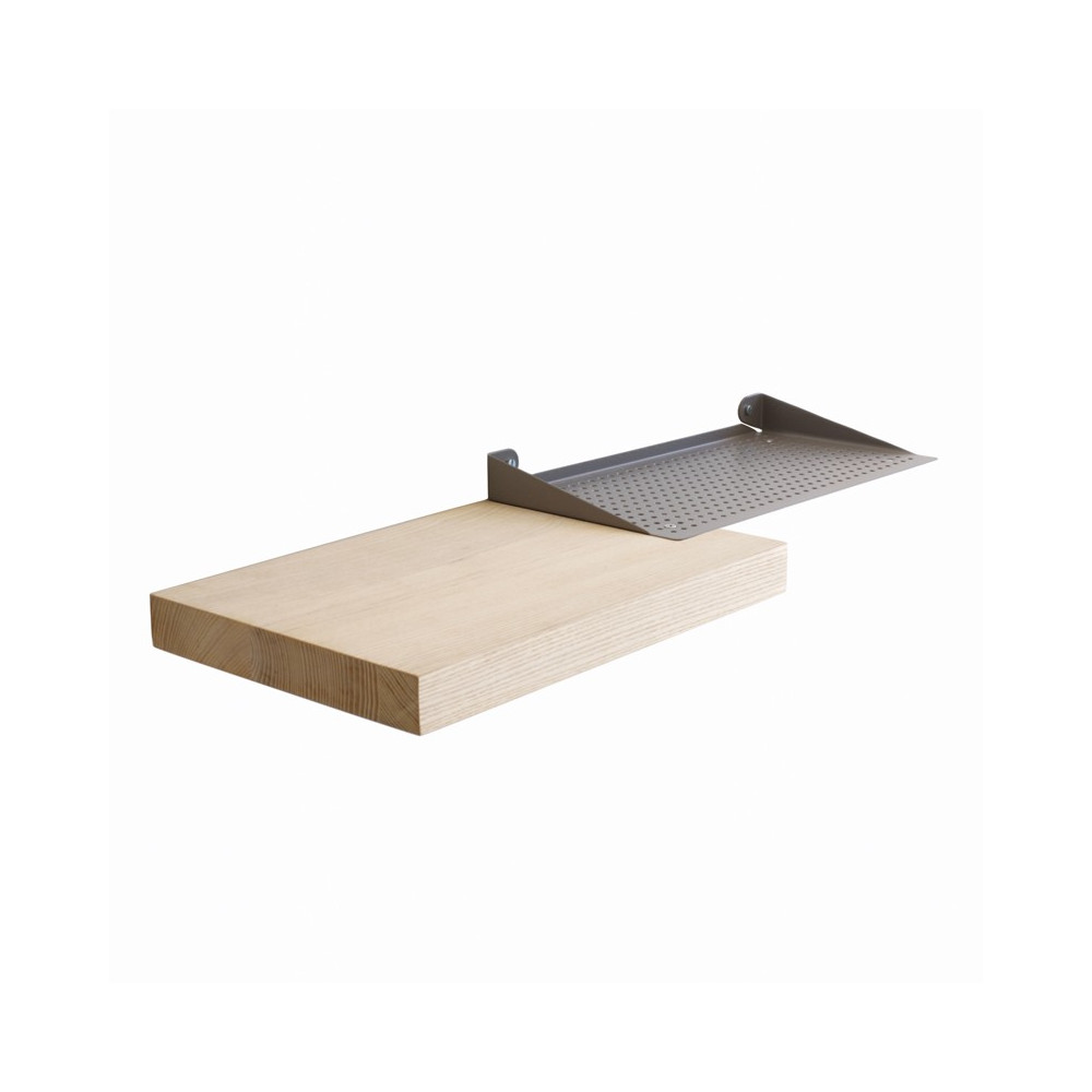 Etagère en métal laqué et bois de frêne 56x20
