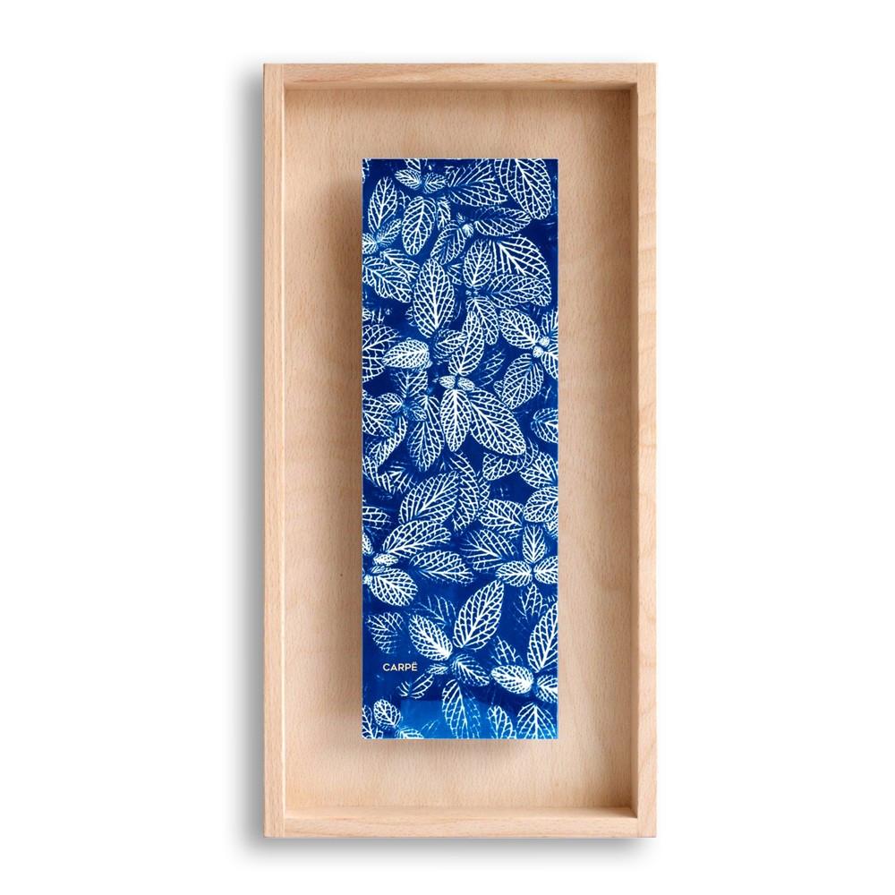 Cadre en bois cyanotype fittonia 40x20cm