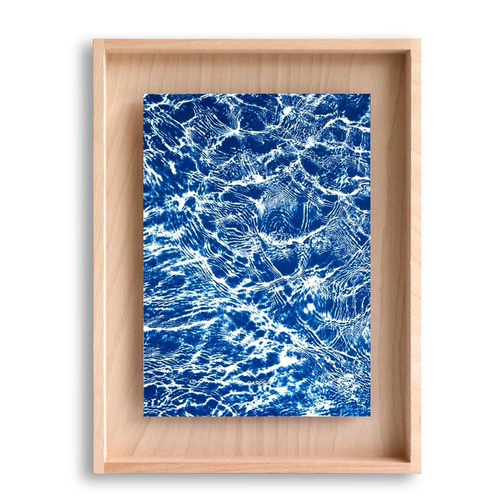 Cadre en bois cyanotype eau 40x30cm