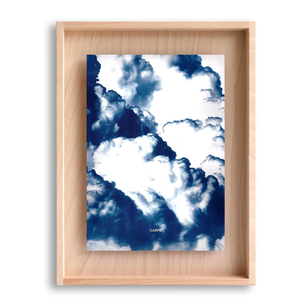 Cadre en bois cyanotype nuages 40x30cm
