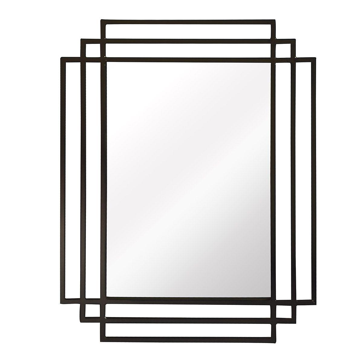 Miroir rectangulaire style Art Deco noir