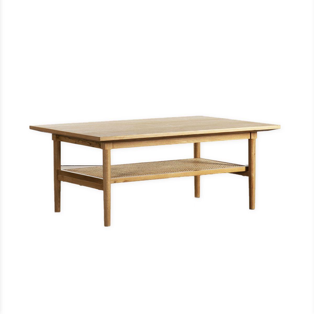 maison du monde Table plaqué chêne cannage en rotin marron