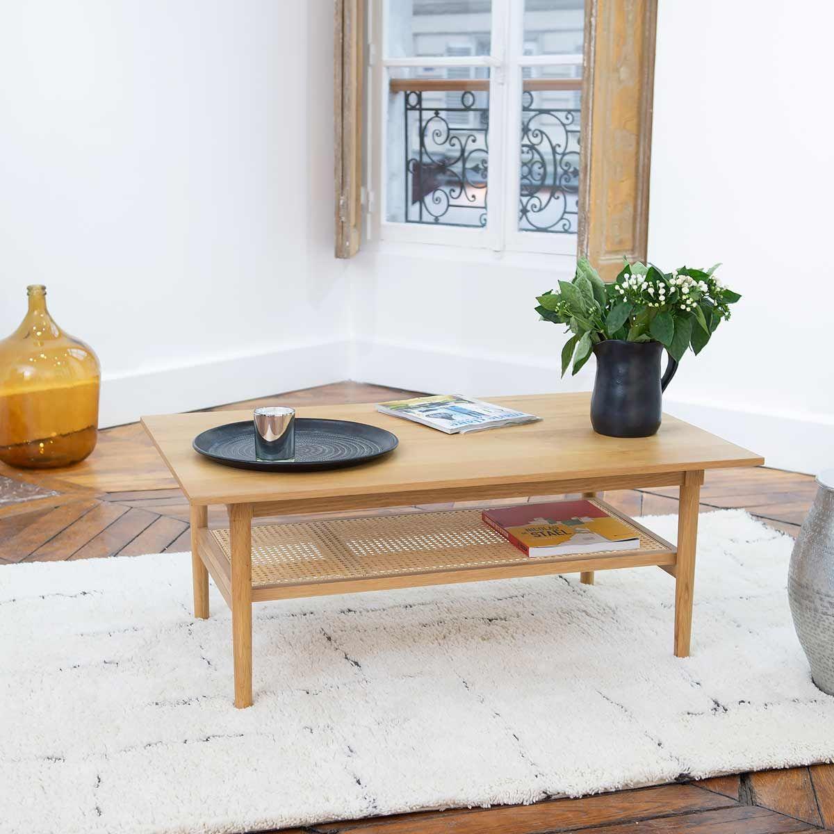 Table basse plaqué chêne cannage en rotin marron