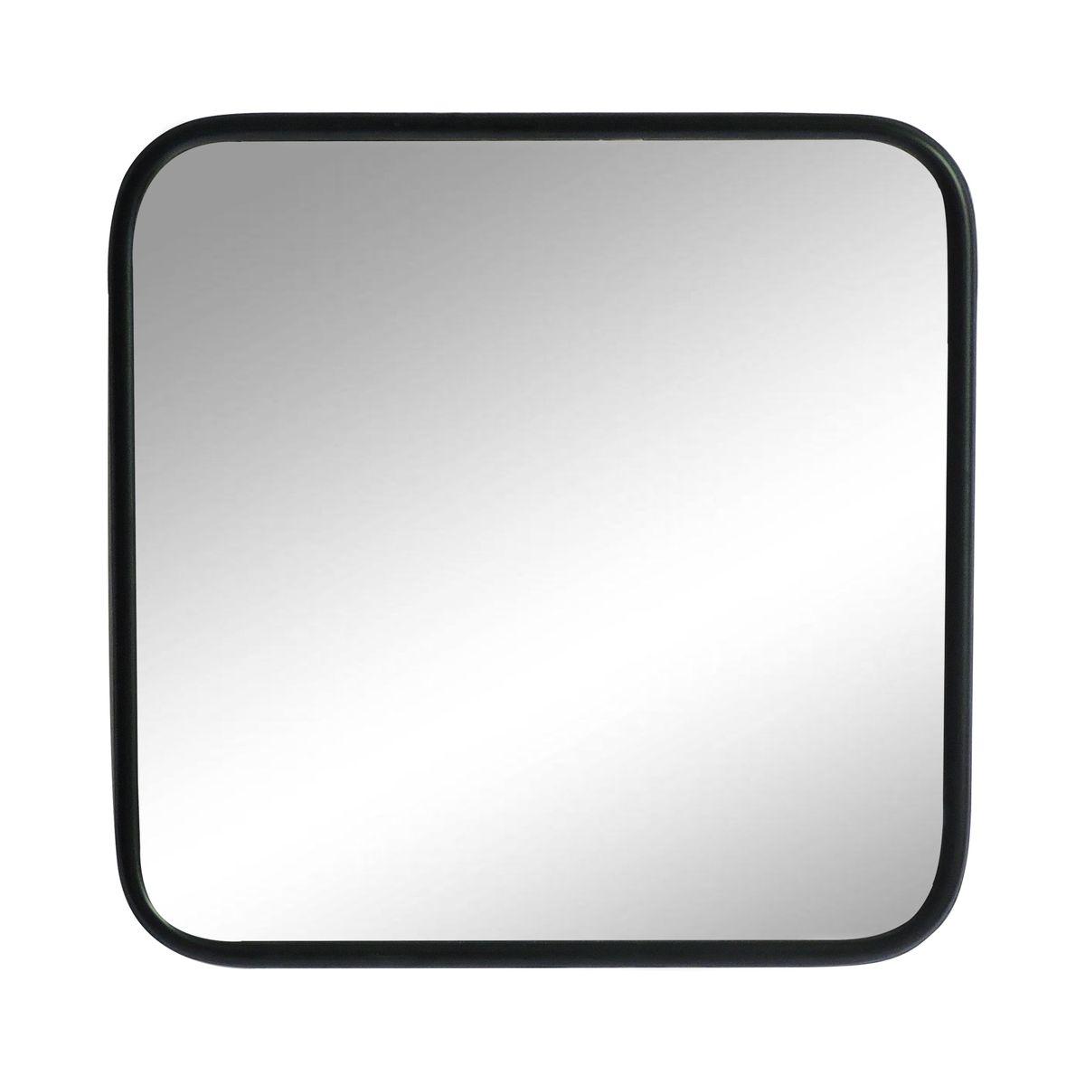 Miroir carré angles arrondis métal noir 45x45
