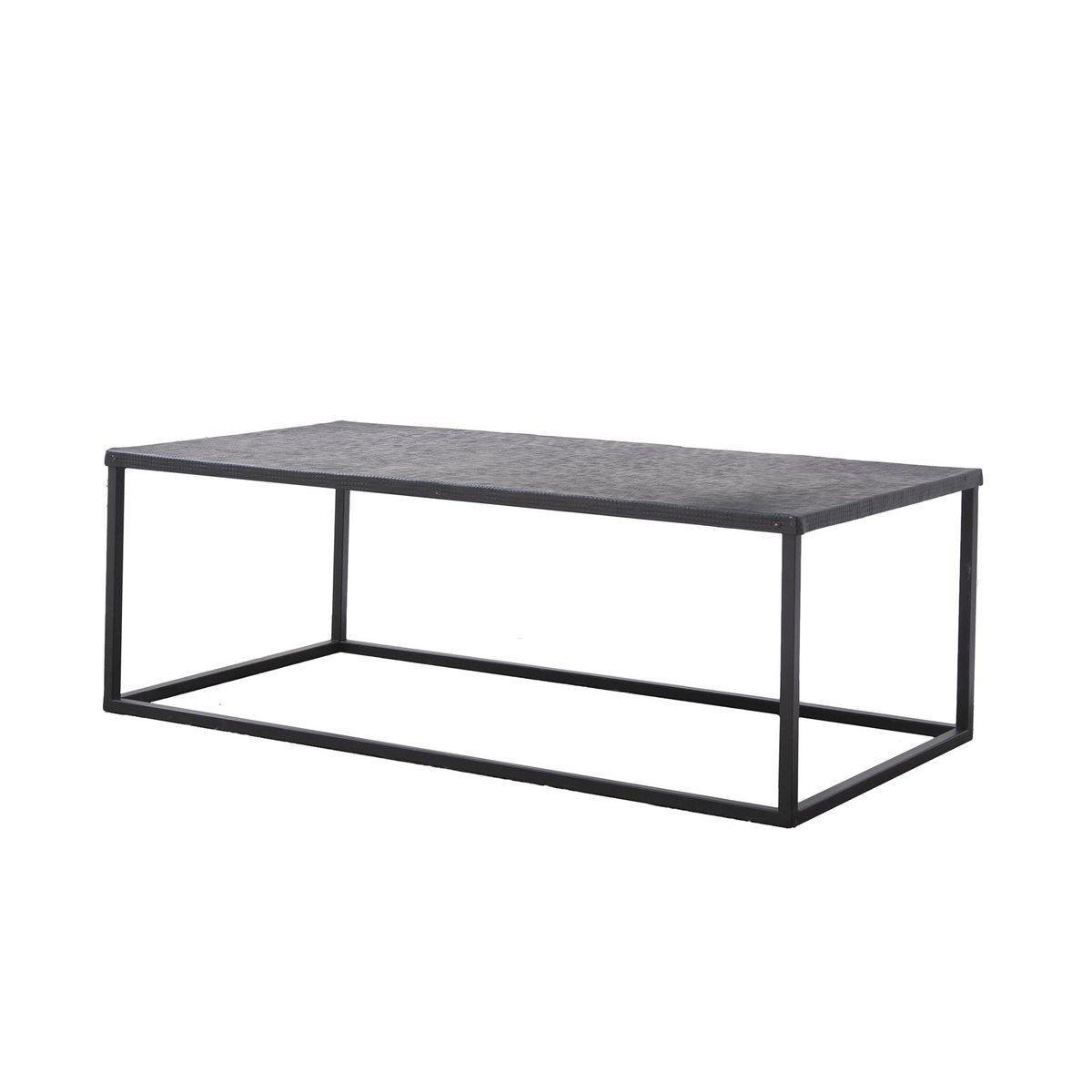 Table basse rectangle métal gravé noir