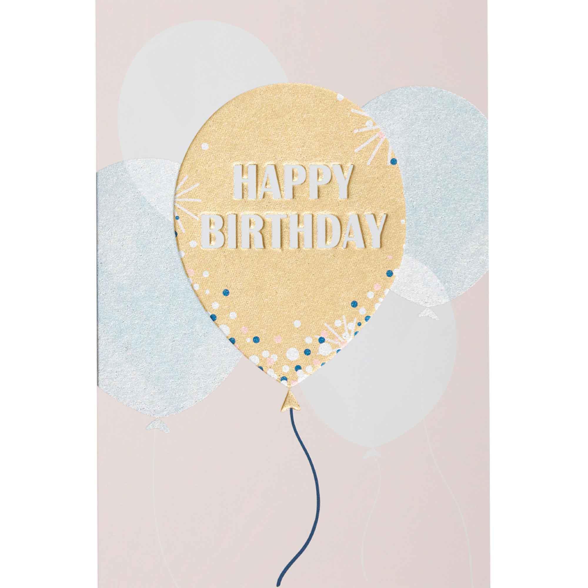 Carte happy birthday ballon doré