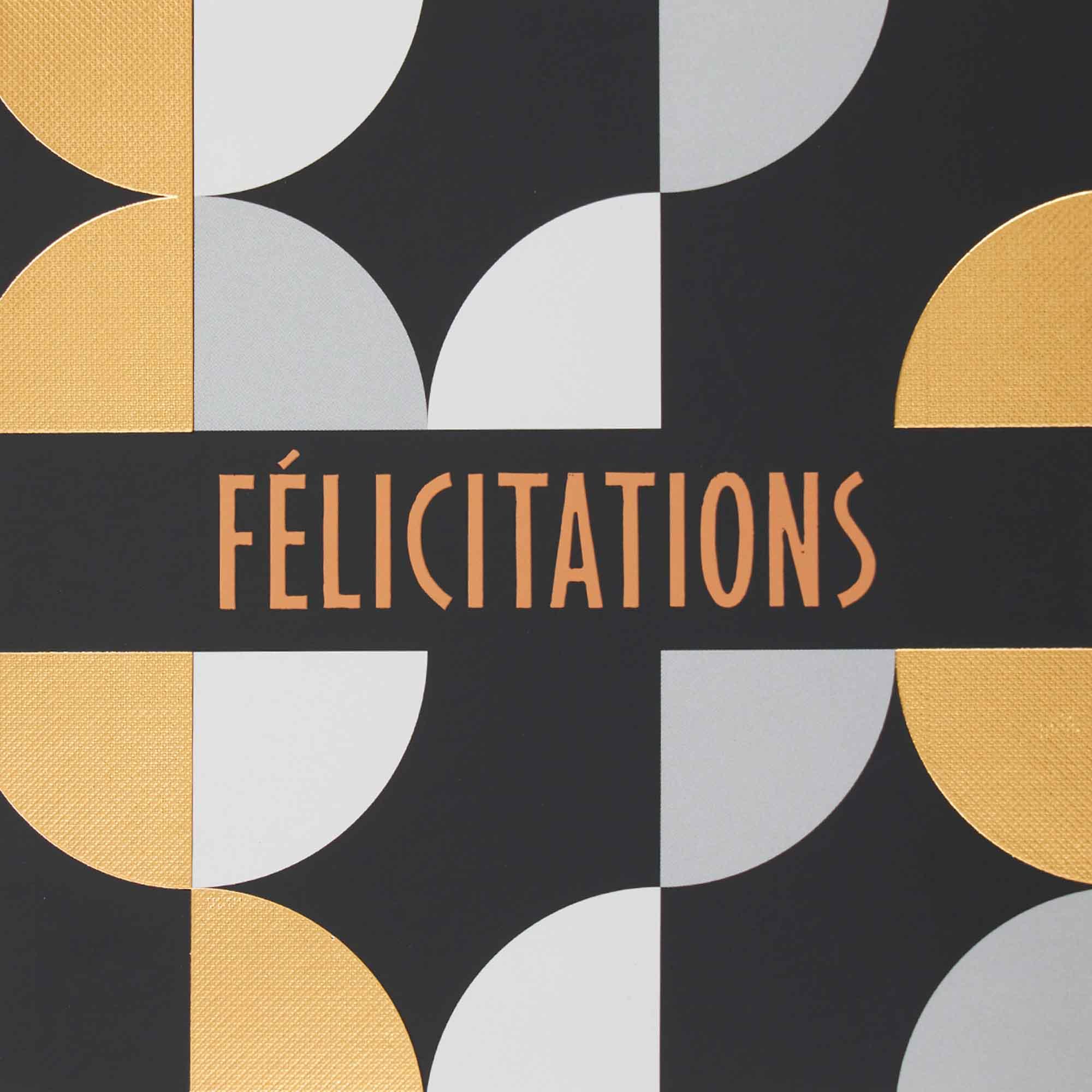 Carte félicitations noir et or