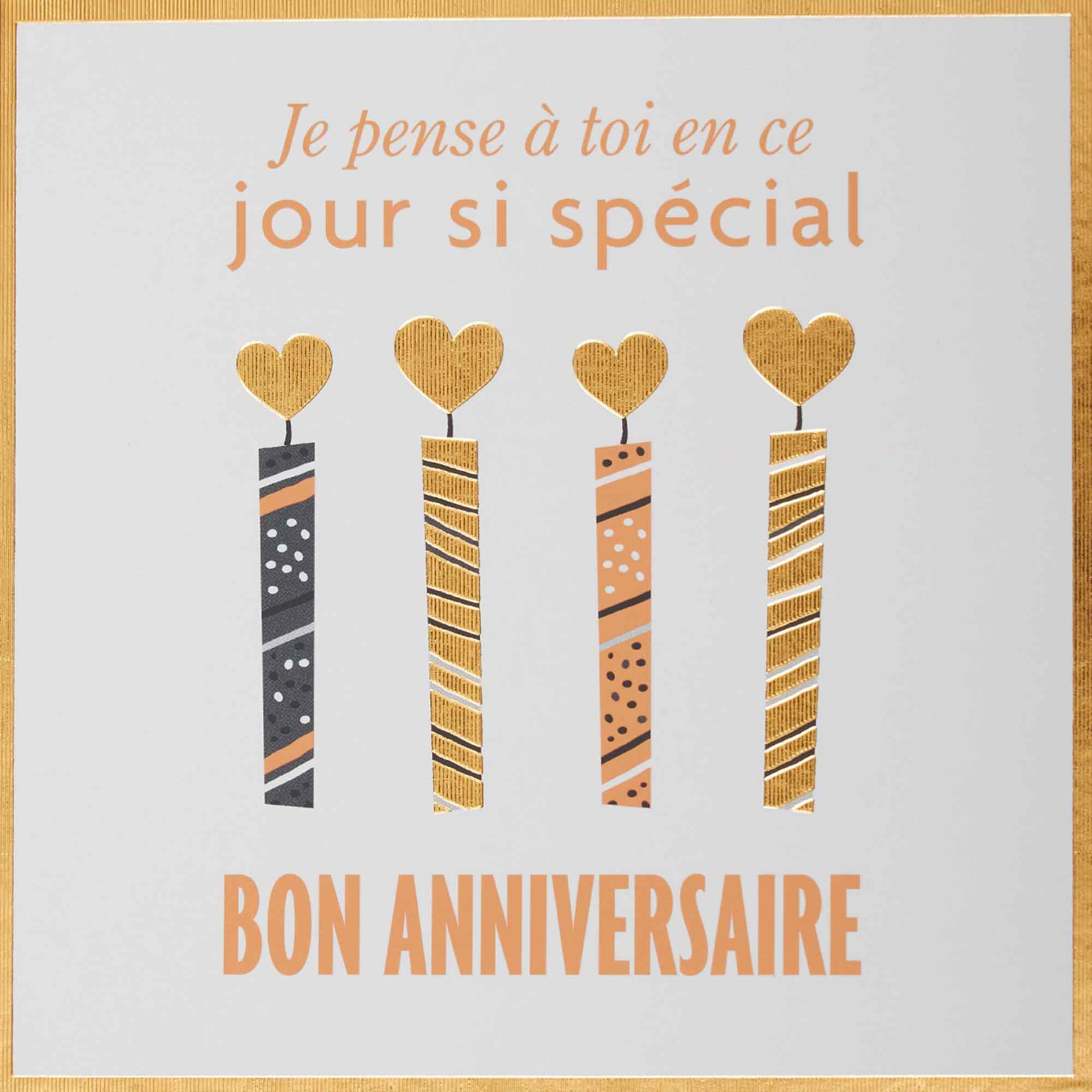 Carte anniversaire bougies dorées