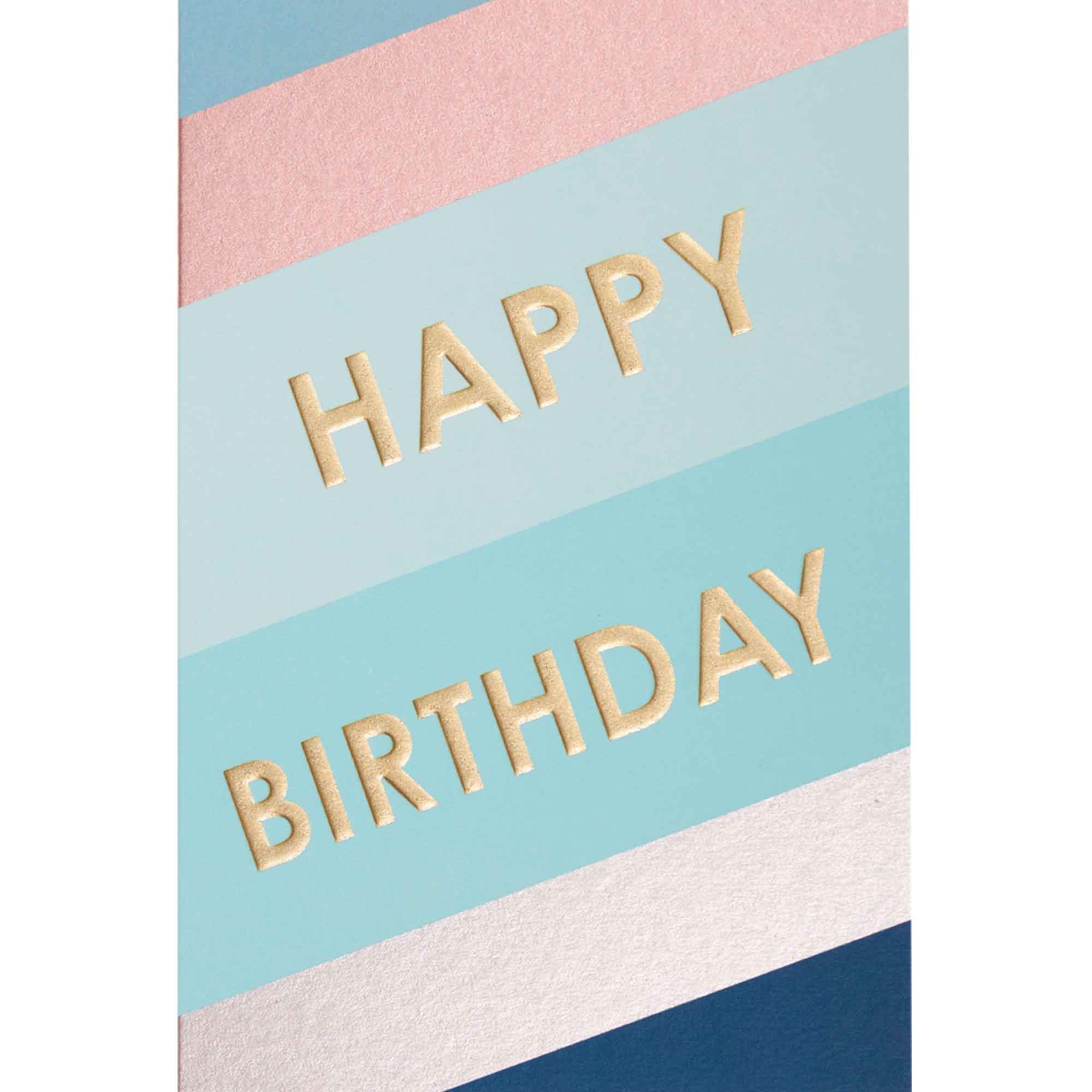 Carte happy birthday lettres dorées