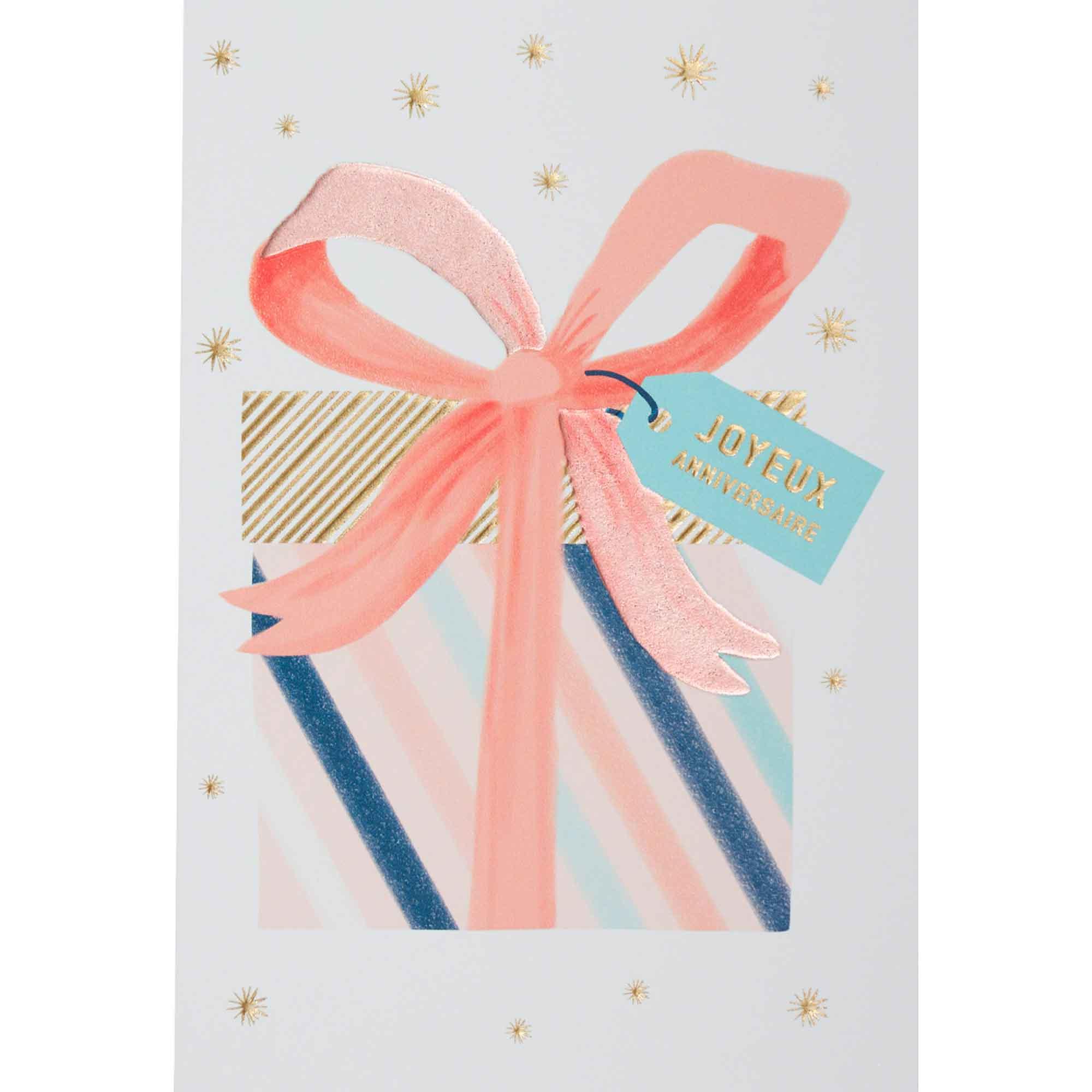 Carte anniversaire paquet-cadeau pastel et or