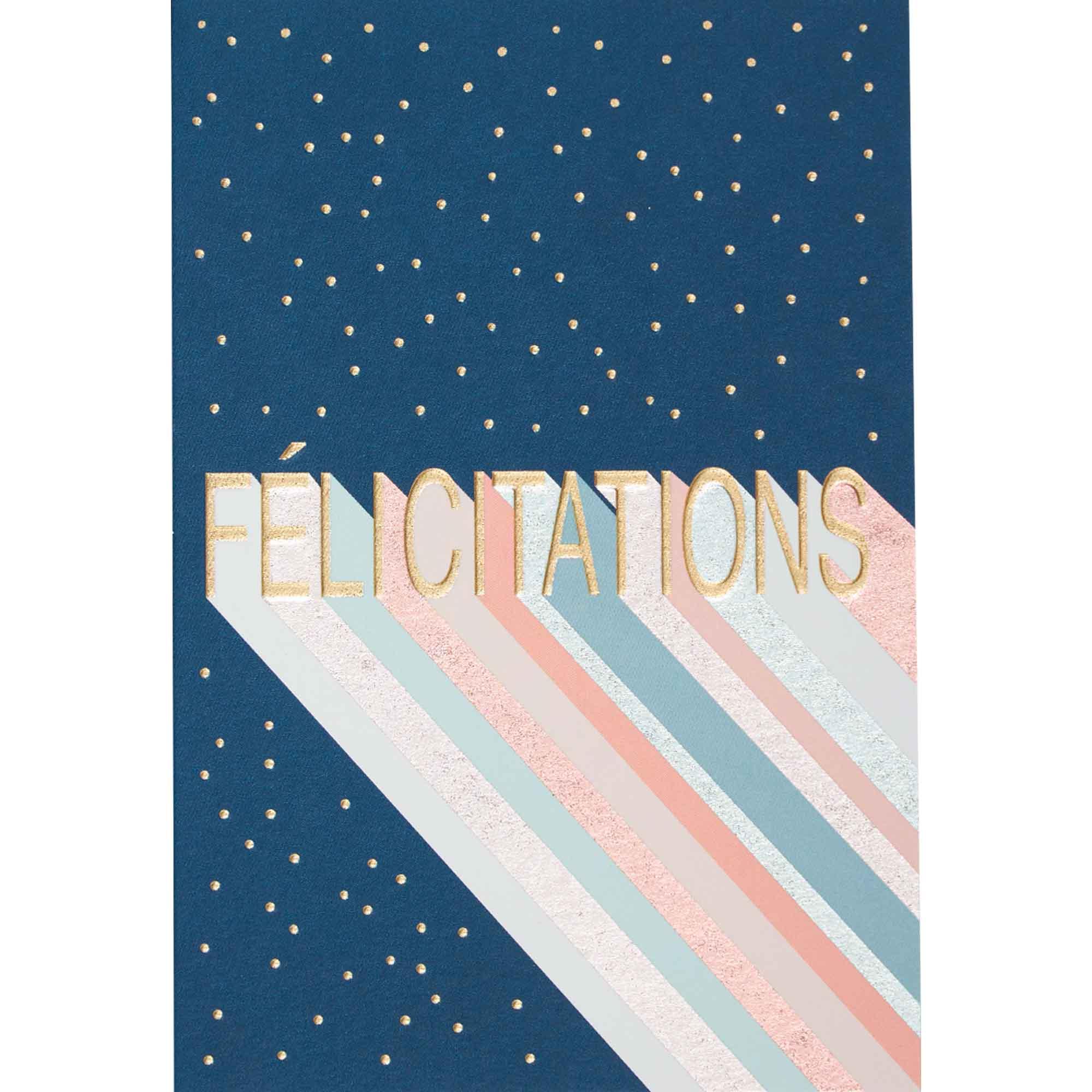 Carte félicitations lettres dorées