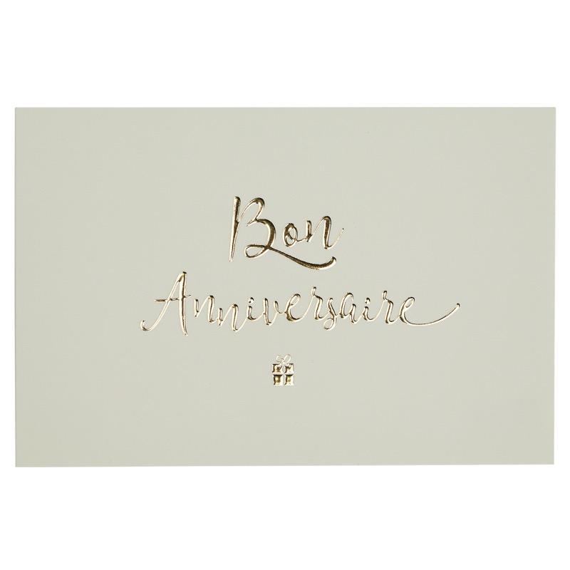 Carte bon anniversaire blanc et or