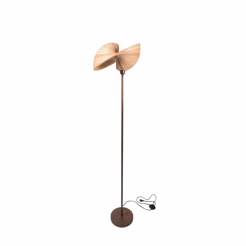 Lampadaire en bambou et pied en bronze H138