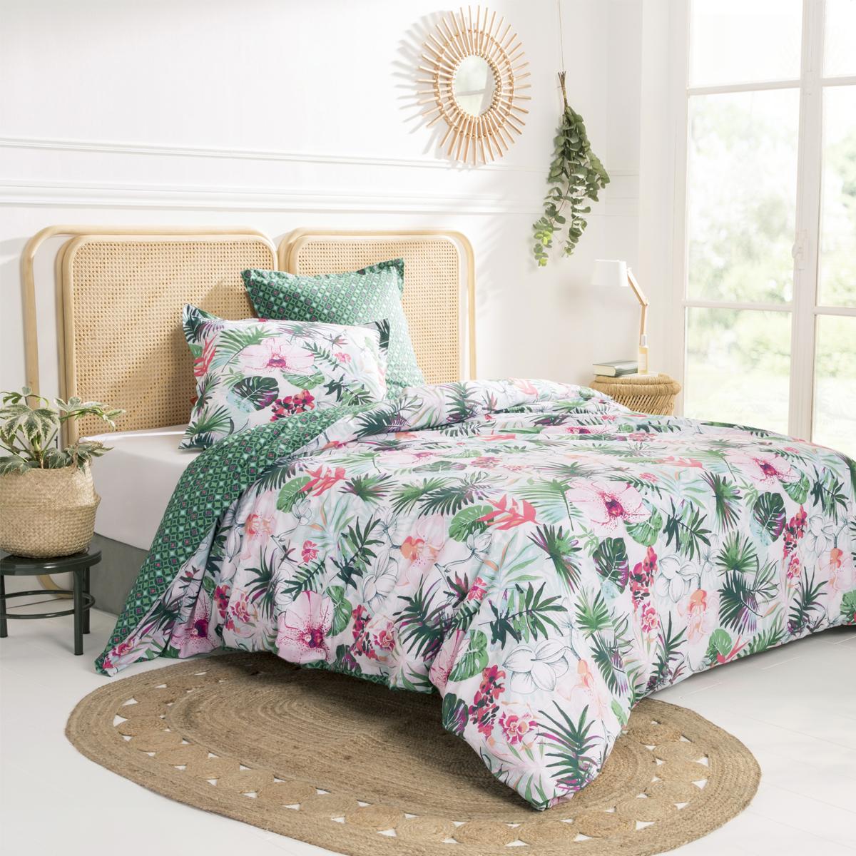 Parure de lit imprimée en coton vert 140x200