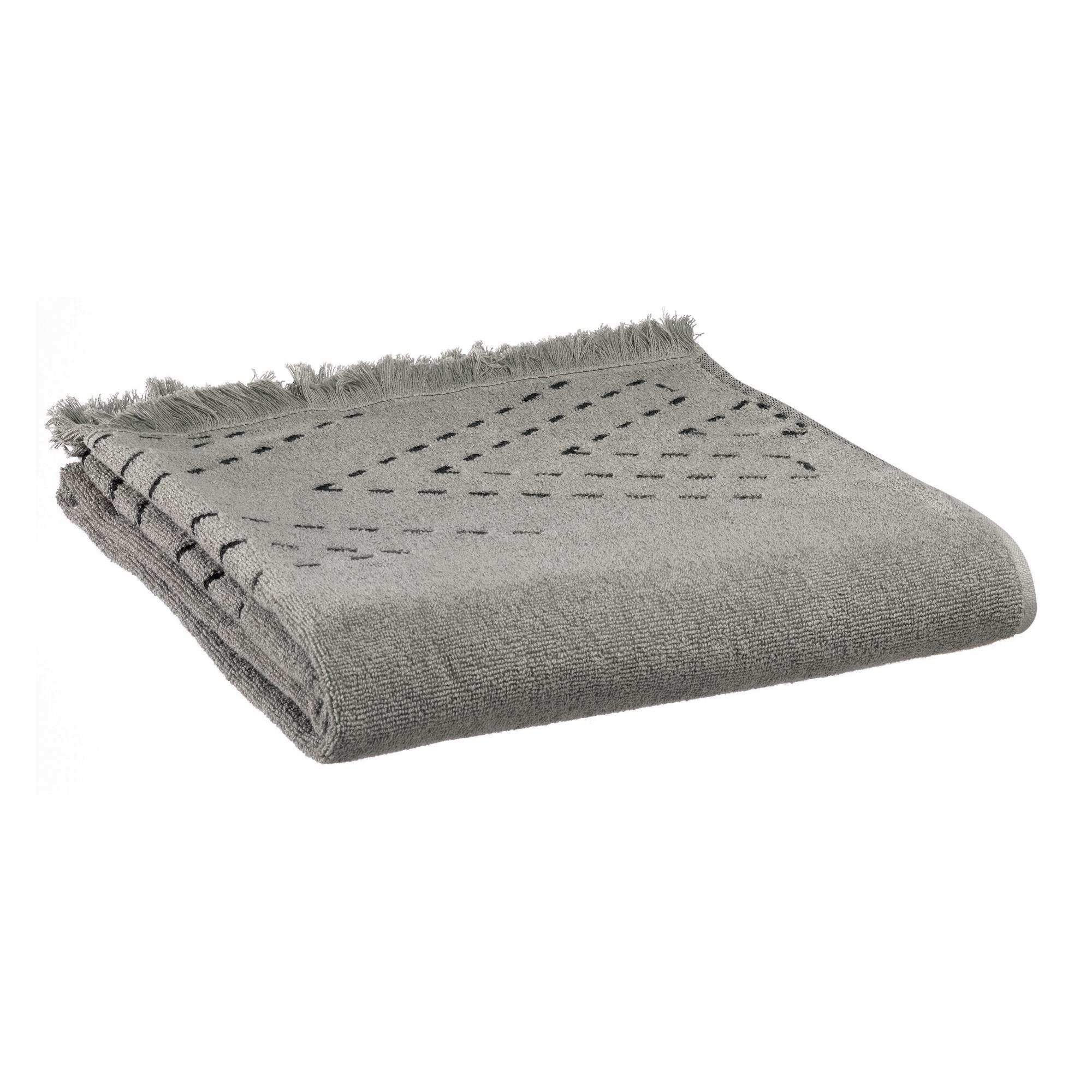 Drap de douche en coton gris 70 x 140