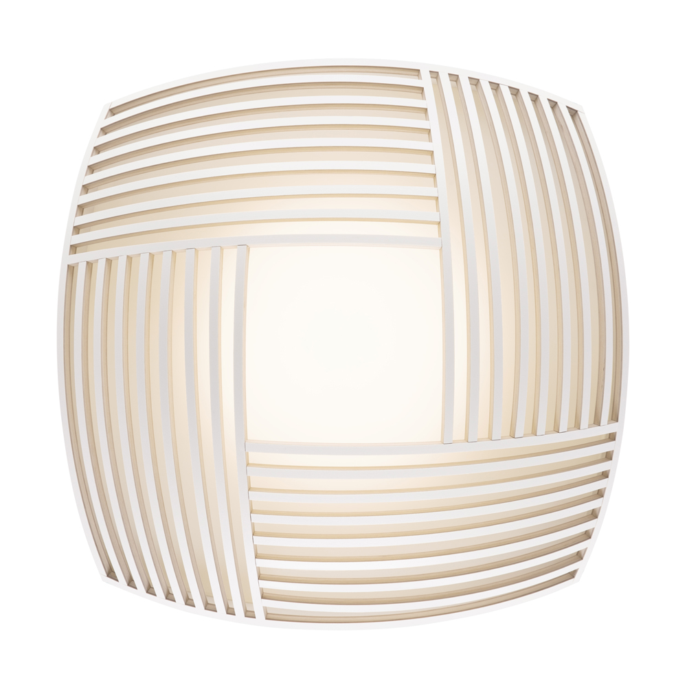 Plafonnier en bois blanc 52x52cm