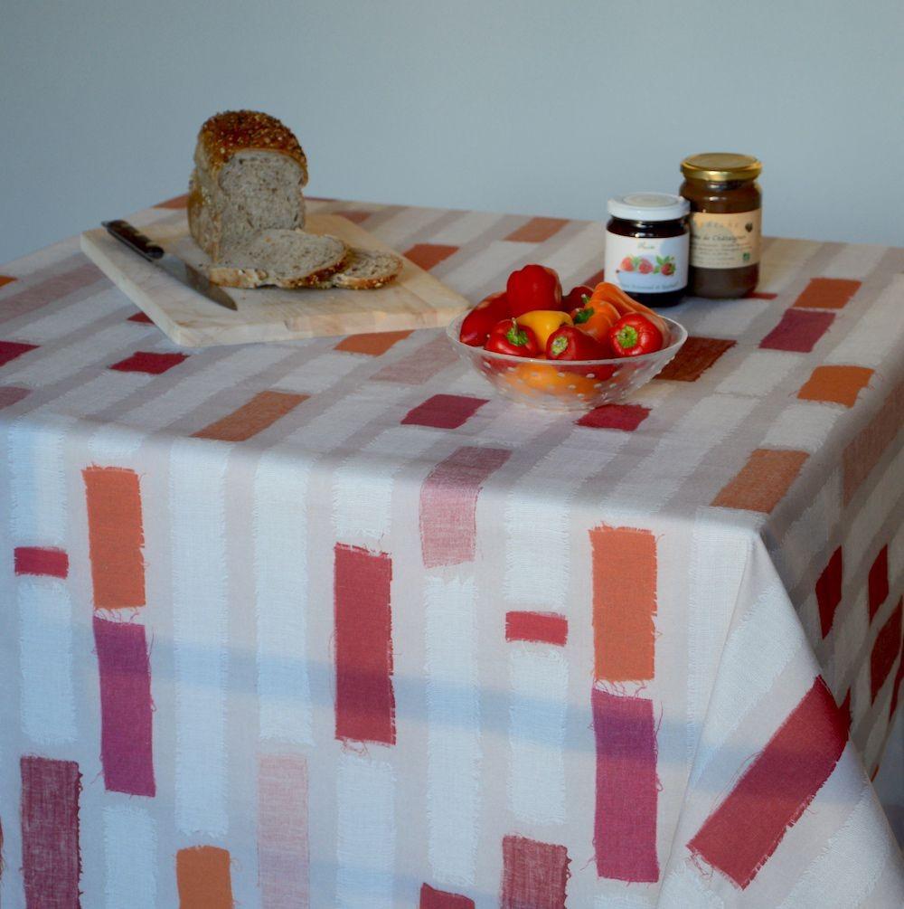 Nappe enduite carrée 120 x 120 cm rouge