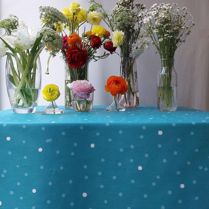 Nappe enduite carrée 120 x 120 cm turquoise