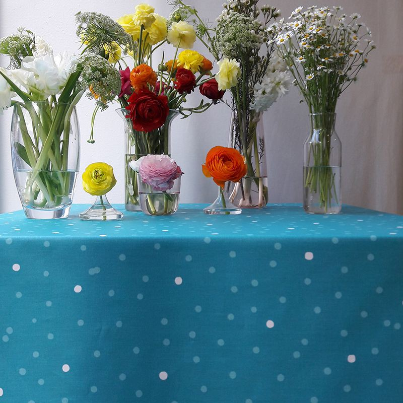 Nappe enduite carrée 160 x 160 cm turquoise