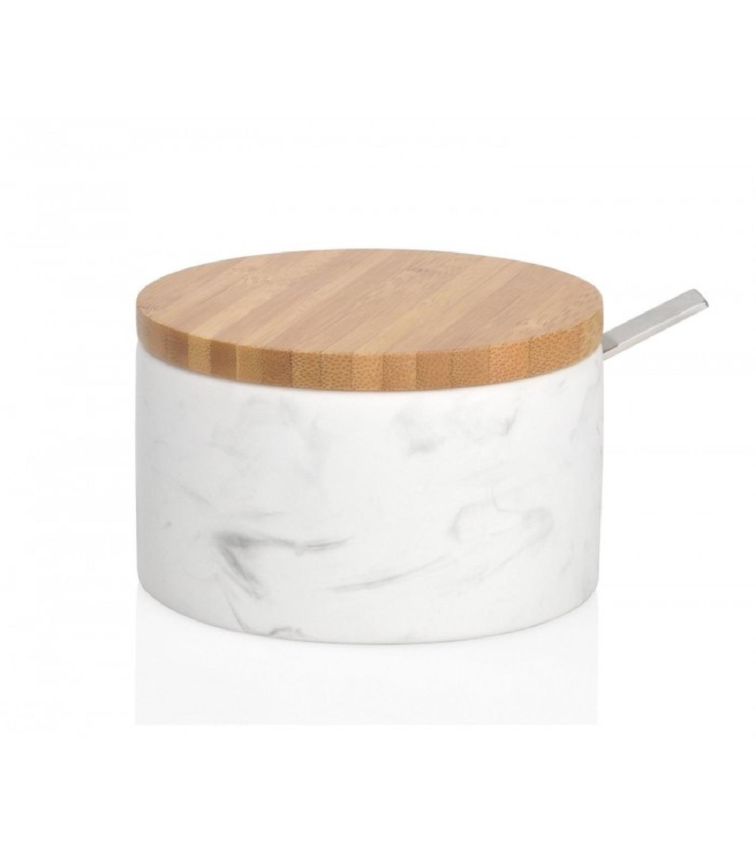 Pot à sucre en céramique et bambou