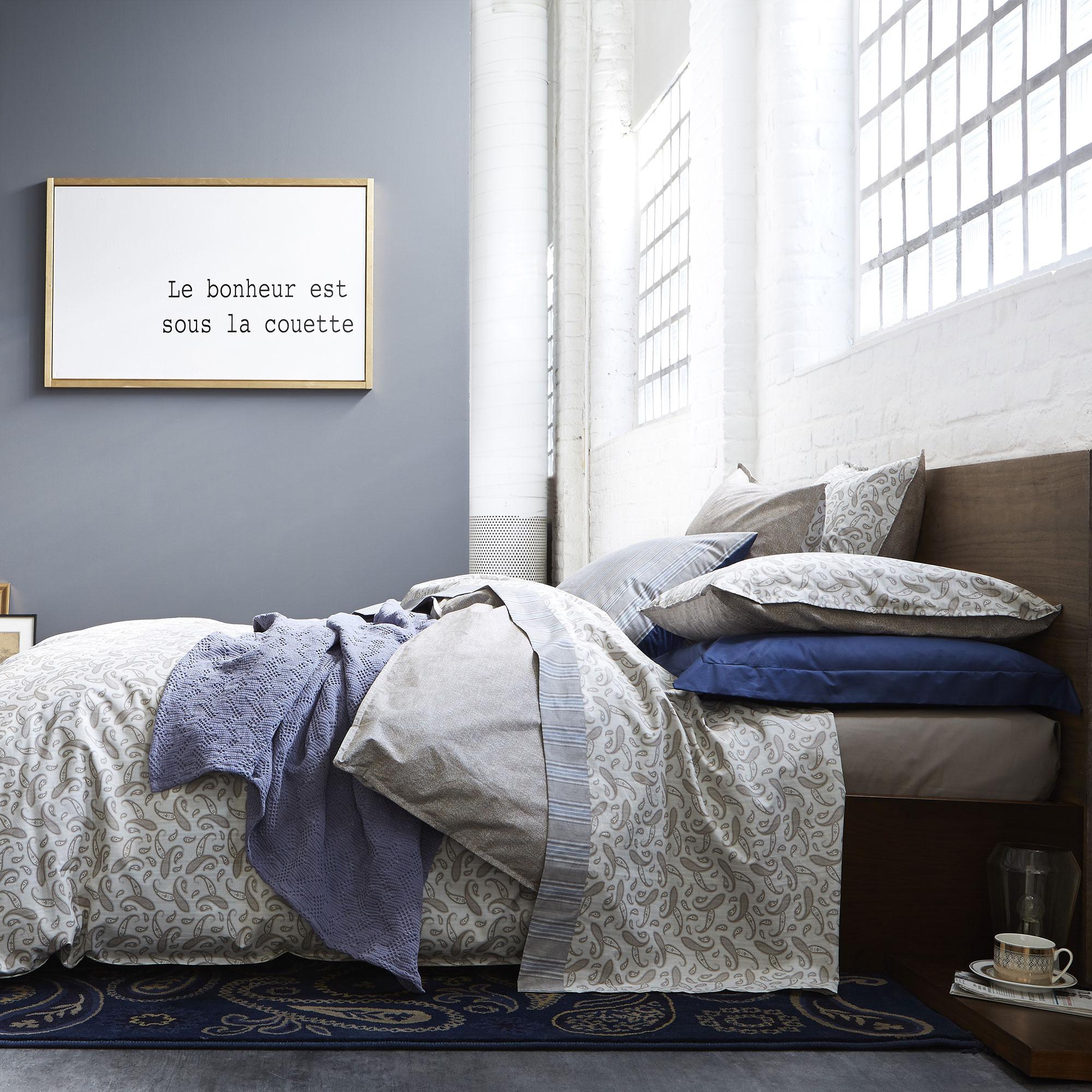 Housse de couette imprimée en coton gris 140x200