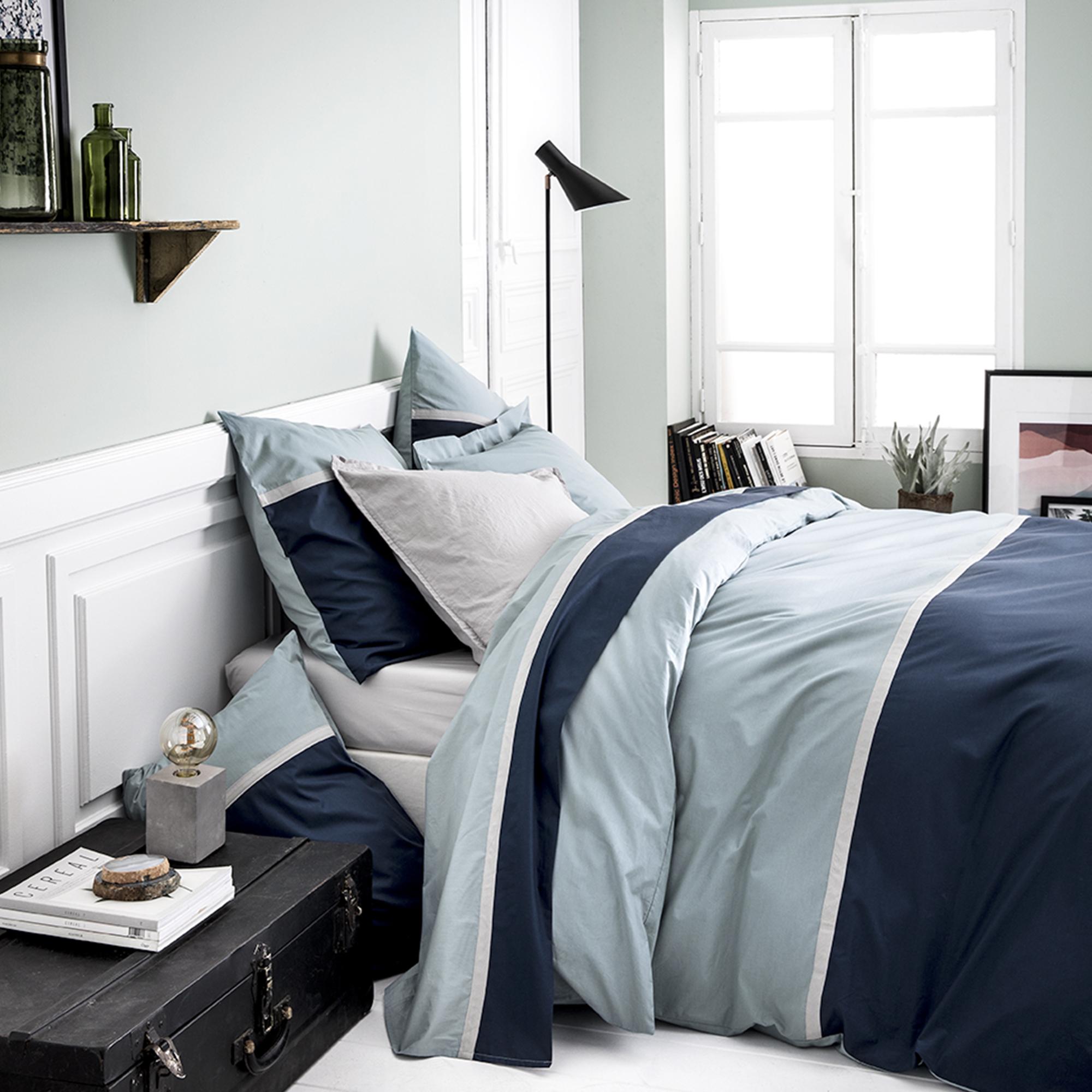Housse de couette bicolore en coton bleu 140x200