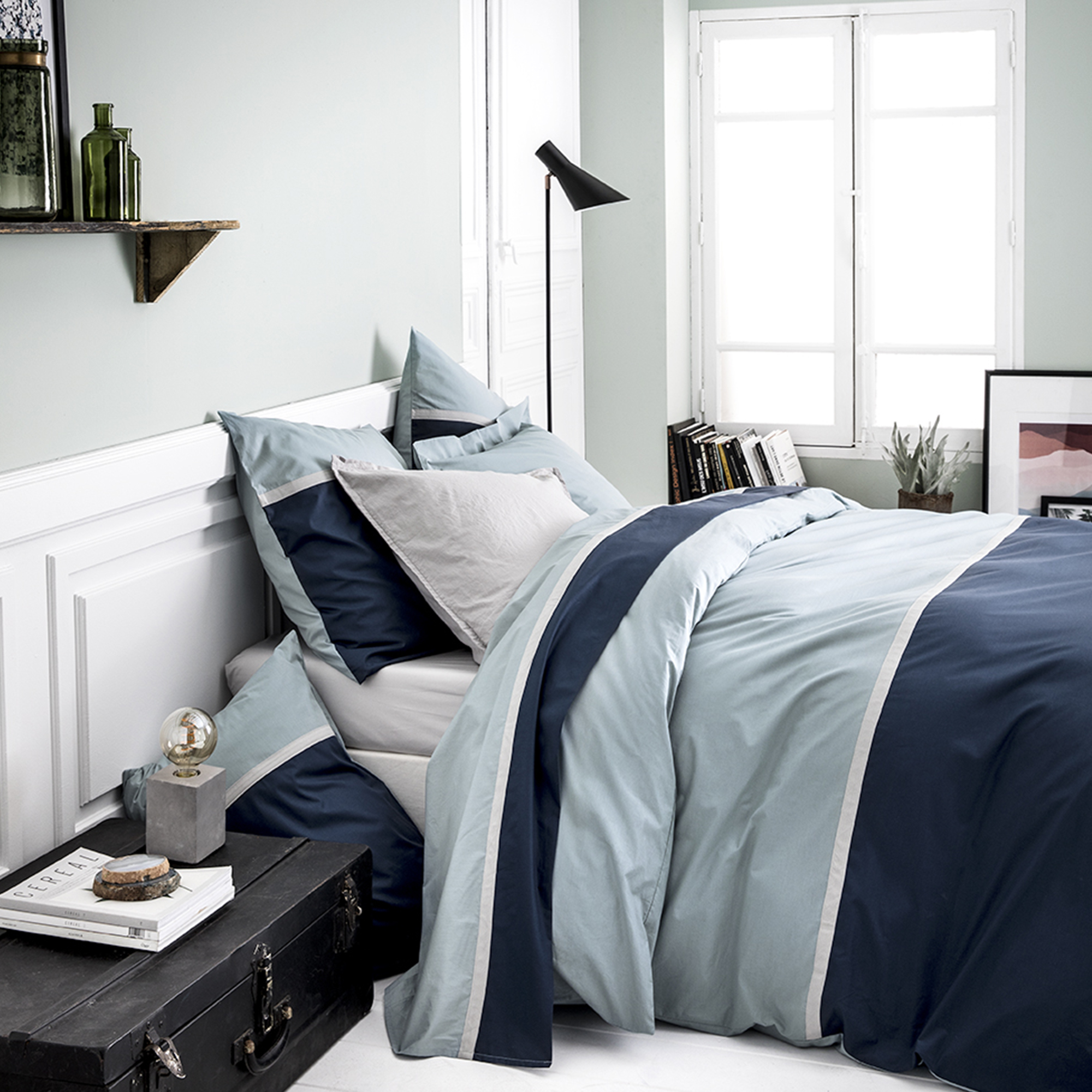 Housse de couette bicolore en coton bleu 200x200