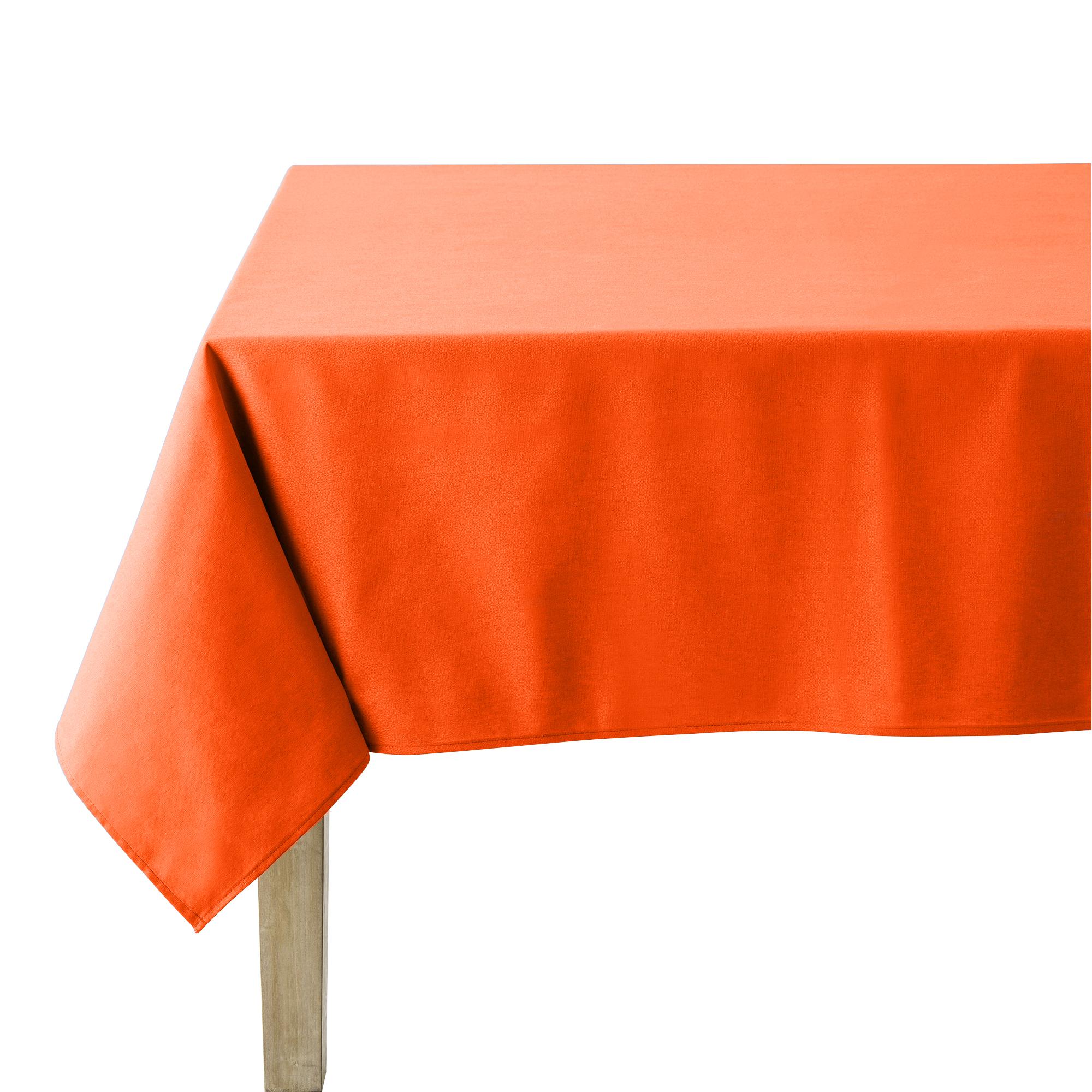 Nappe en coton traitee teflon mandarine 150 x 190