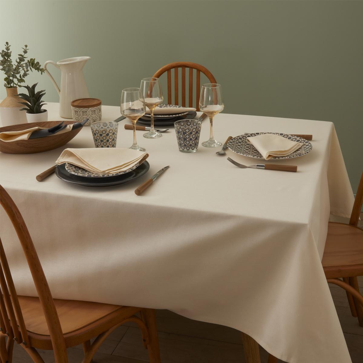 Nappe en coton traitee teflon creme 180 x 300