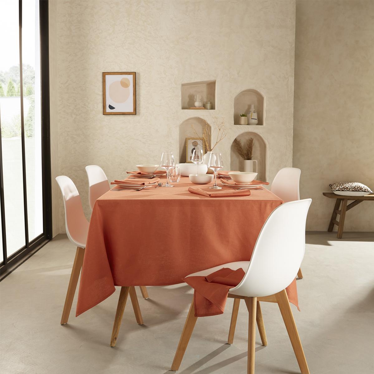 Nappe unie en polylin tangerine 180 x 180