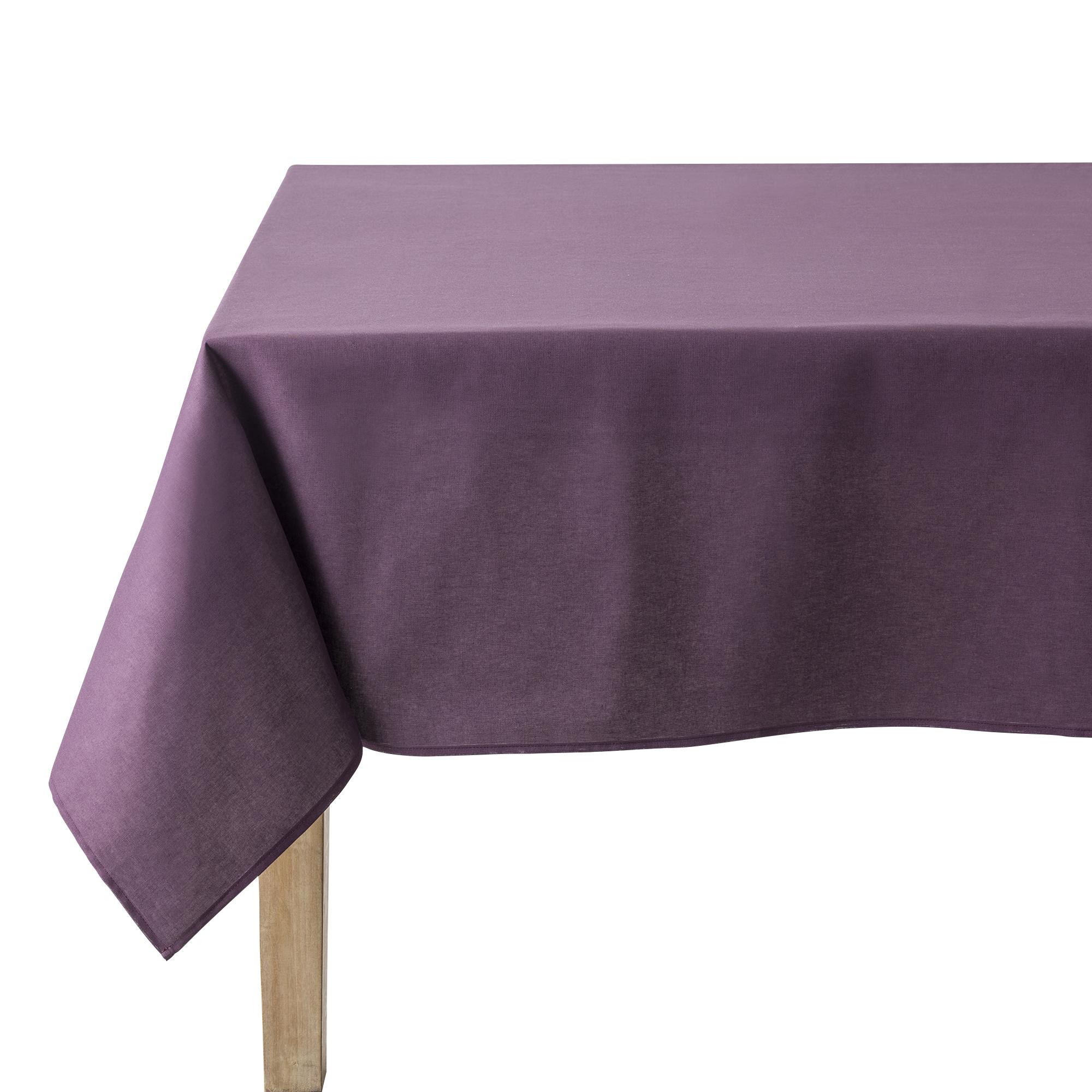 Nappe en coton traitee teflon aubergine 180 x 180