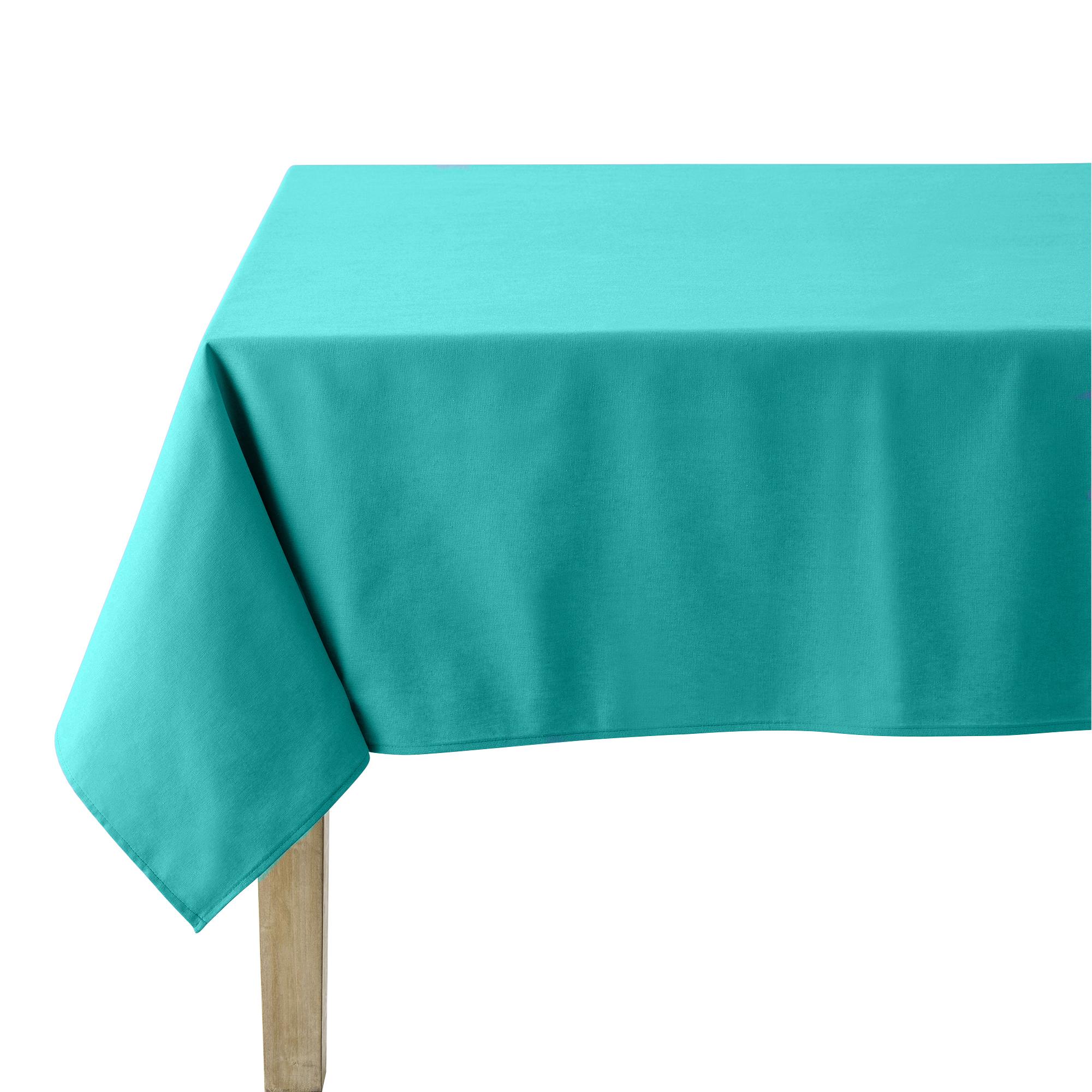 Nappe en coton traitee teflon turquoise 180 x 300