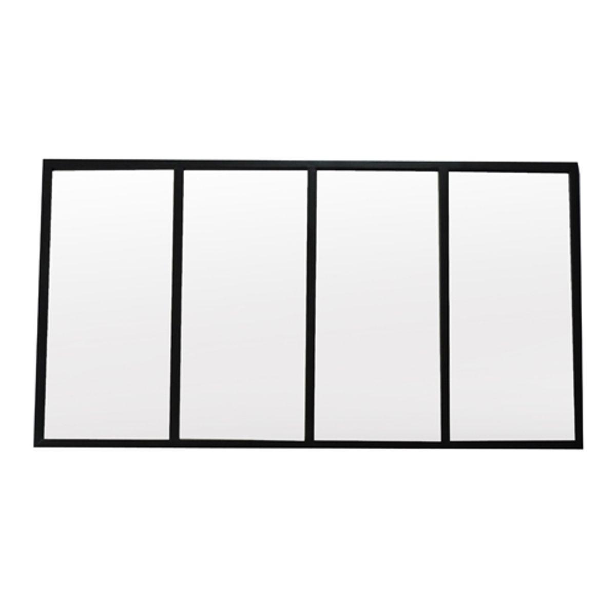Miroir atelier verrière en métal noir 75x140