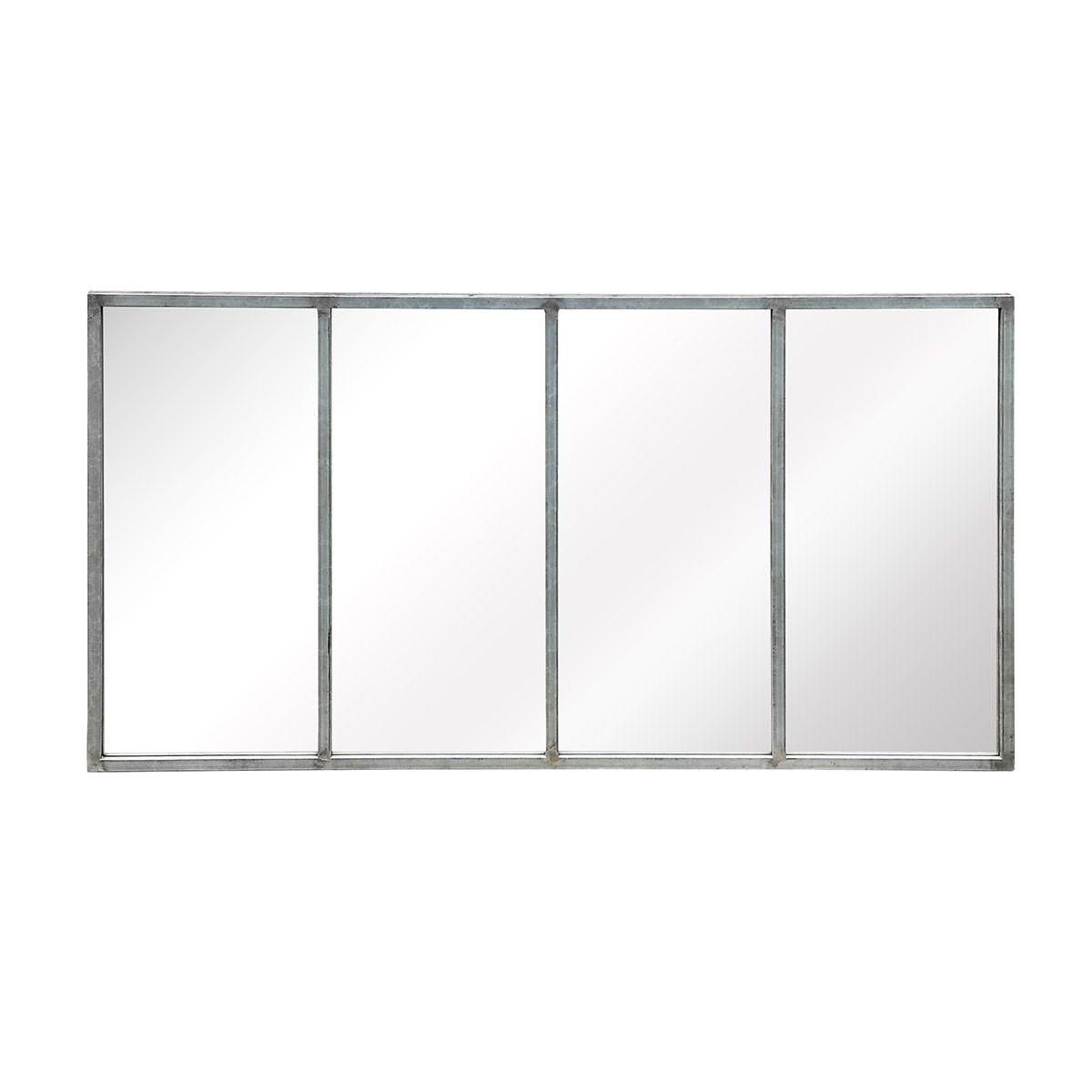 Miroir atelier verrière en métal gris 75x140