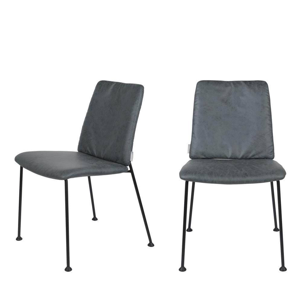 maison du monde 2 chaises en tissu micro-perforé bleu gris