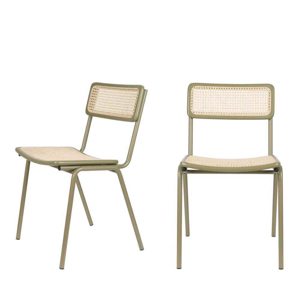 maison du monde 2 chaises en cannage vert de gris