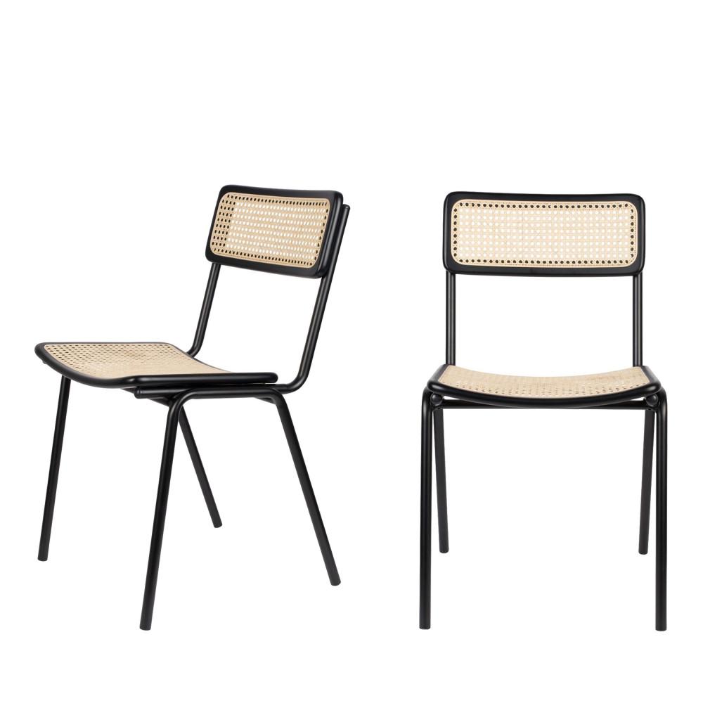 maison du monde 2 chaises en cannage noir