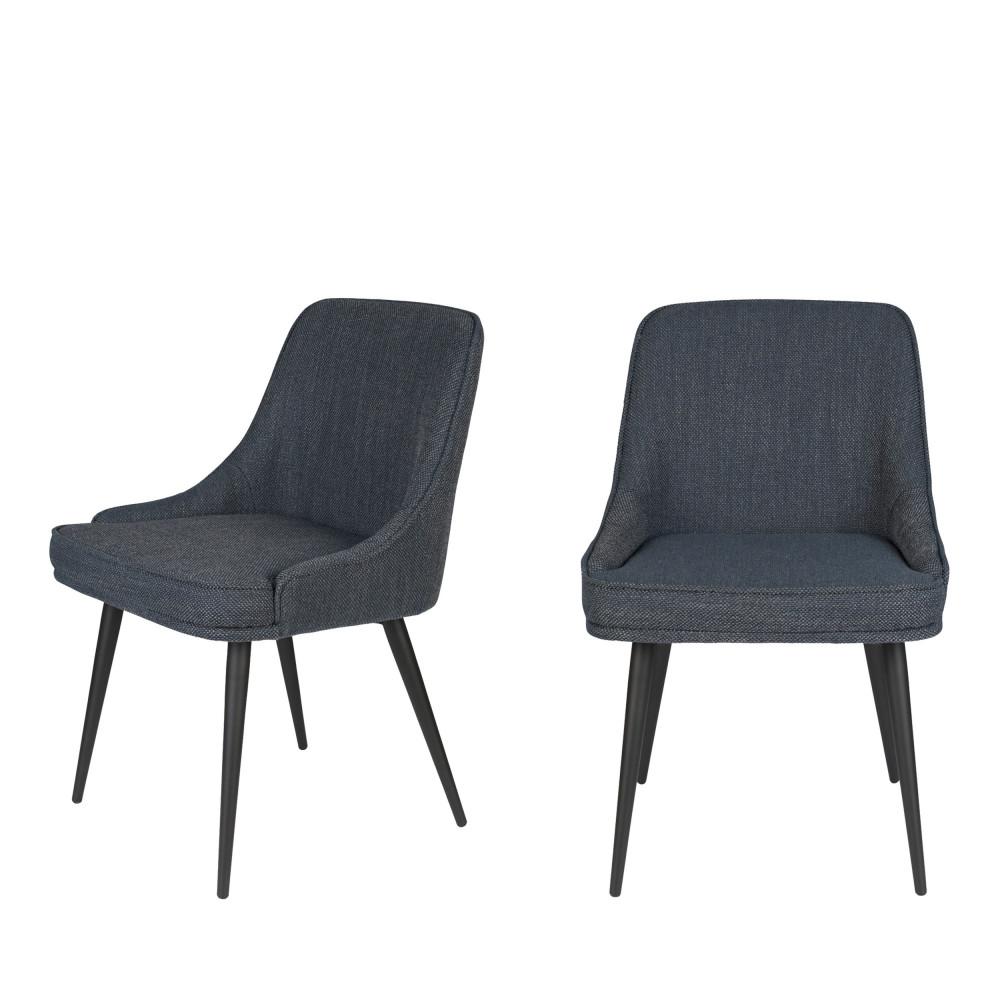 maison du monde 2 chaises en tissu bleu gris