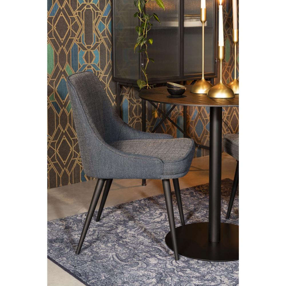 2 chaises en tissu bleu gris