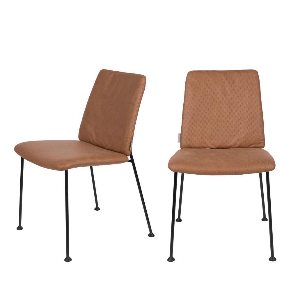 maison du monde 2 chaises en tissu micro-perforé marron foncé