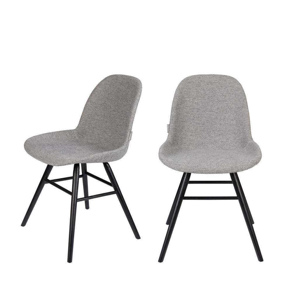 maison du monde 2 chaises en bois et tissu gris clair