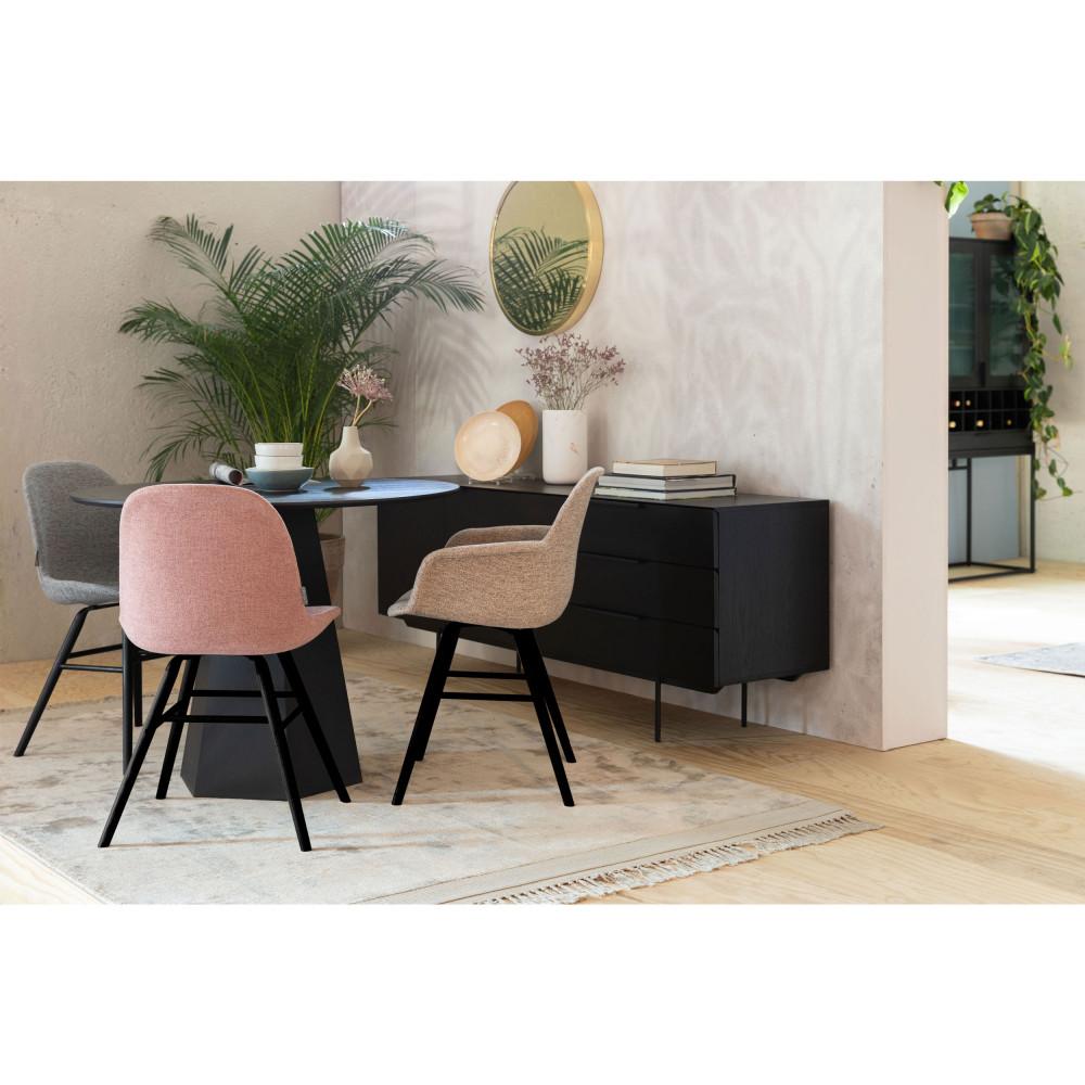 2 chaises en bois et tissu gris clair