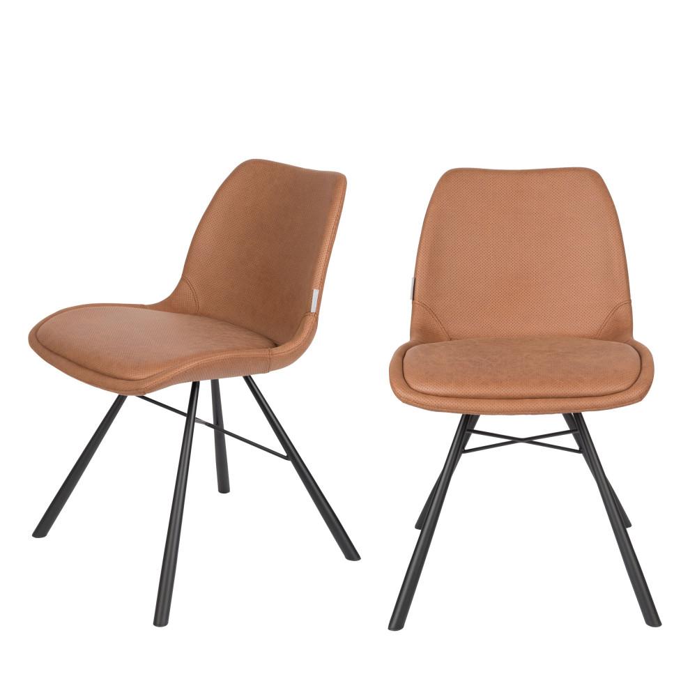 maison du monde 2 chaises en simili micro-perforé marron