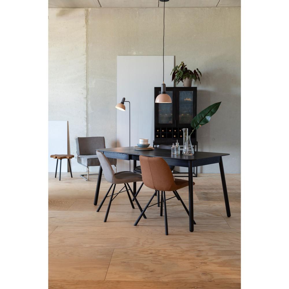 2 chaises en simili micro-perforé marron